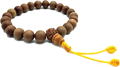 Healing Lama 10MM Beads Genuine Himalayan Sandlewood Tibetan Meditation Prayer Bracelet. with Rudrakshya Guru Bead. Yoga Bracelet.