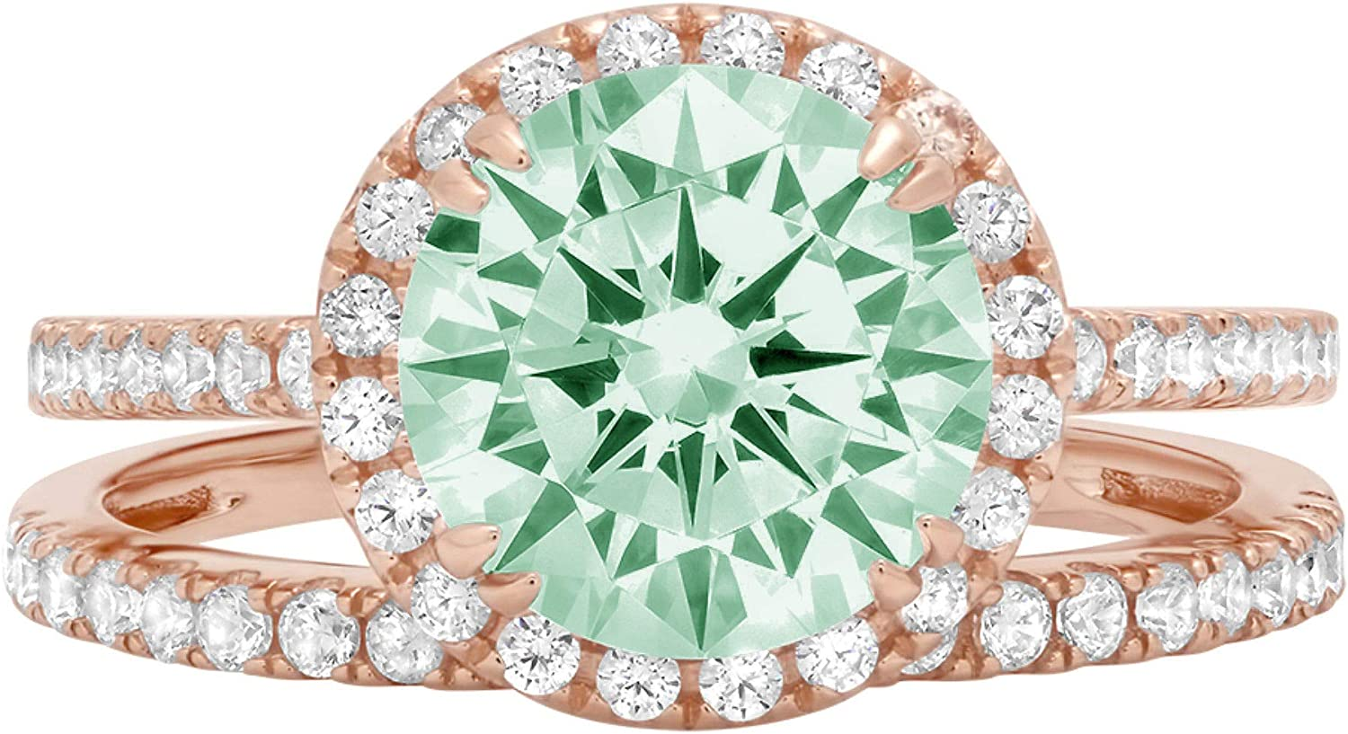 2.69ct Round Cut Halo Pave Solitaire with Accent Light Sea Green Simulated Diamond Designer Statement Classic Ring Band Set Real Solid 14k Rose Gold
