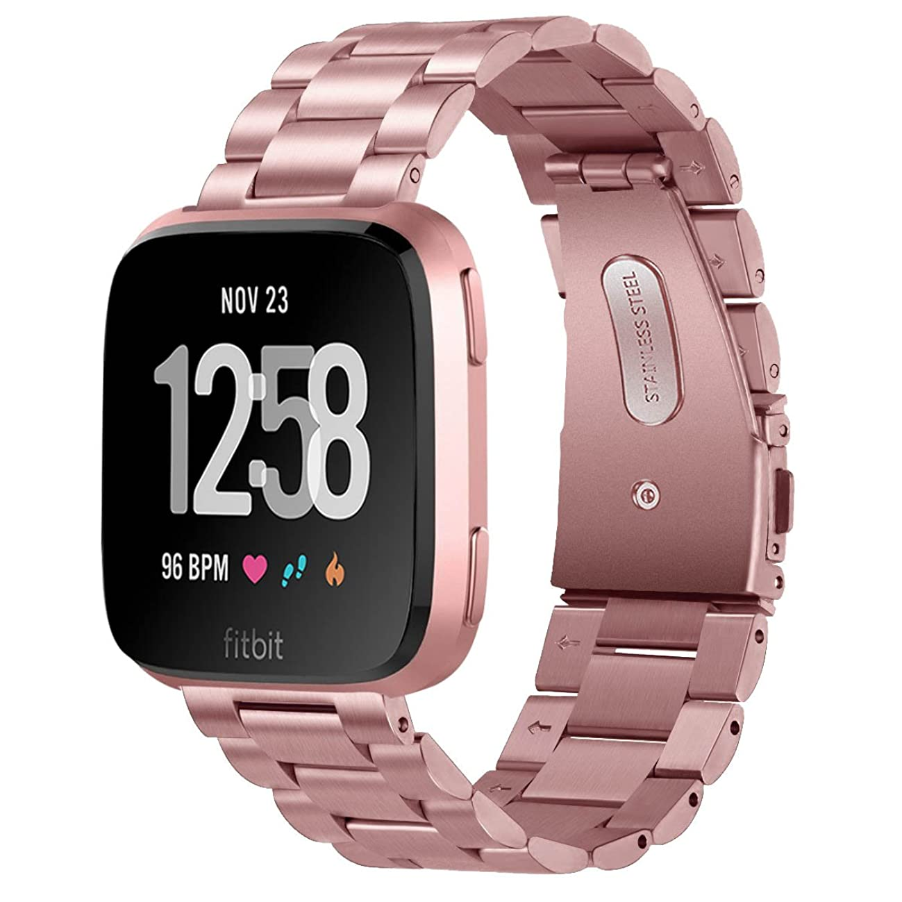 VIGOSS Compatible with Fitbit Versa Band Rose Gold Women Solid Stainless Steel Versa Special Edition Bands Metal Business Strap Replacement Bracelet for Fitbit Versa/Special Edition/Lite Edition