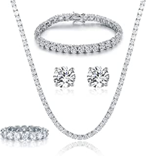 GEMSME 18K White Gold Plated Tennis Necklace/Bracelet/Earrings/Band Ring Sets Hypoallergenic Jewelry Pack of 4