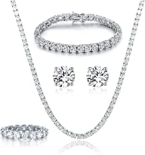 GEMSME 18K White Gold Plated Tennis Necklace/Bracelet/Earrings/Band Ring Sets Pack of 4