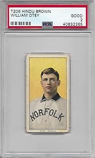 1909-11 T206 Baseball William Otey Card Hindu Brown Factory 649 Back PSA 2 Good
