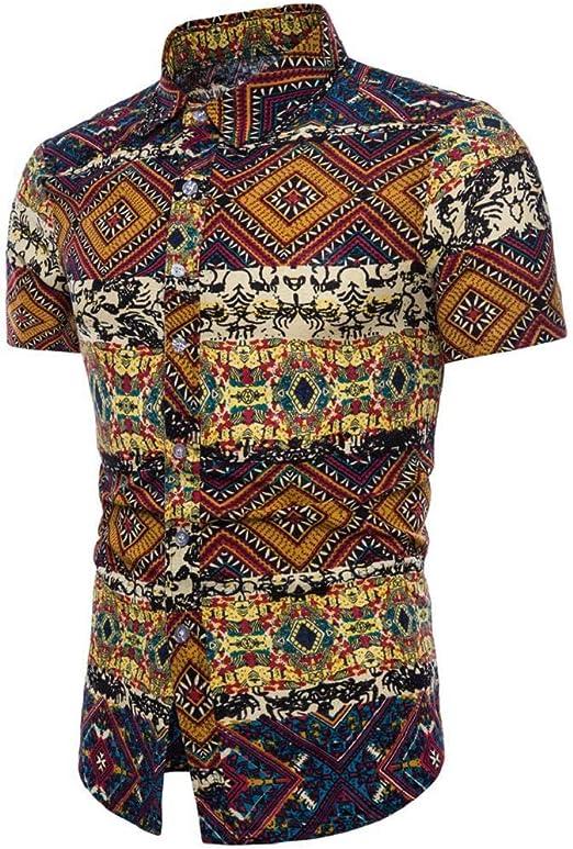 Camisas Hombre Flores 2020 Moda SHOBDW Playa de Verano Impresión Boho Vintage Retro Blusa Slim Fit Tops Shirts Cuello Mao Camisetas Hombre Manga Corta ...