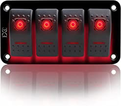 FXC Rocker Switch Aluminum Panel 2 3 4 5 6 Gang Toggle Switches Dash 5 Pin ON/Off 2 LED Backlit for Boat Car Marine RED