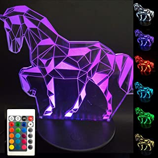 BJYHIYH 3D Horse Lamp 16 Colors Changing Optical Illusion Lamp Remote Control Horse Night Lights for Kids Girls Boys