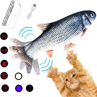 Mupack 2 in 1 Fish Cat Toy & Led Pointer Electric Flipping Fish Cat Toy Cat Chaser Toy for Indoor Cats,Interactive Exercise Cat Nip Supplies kitten Cat Toy (USB Rechargeable) for Cat