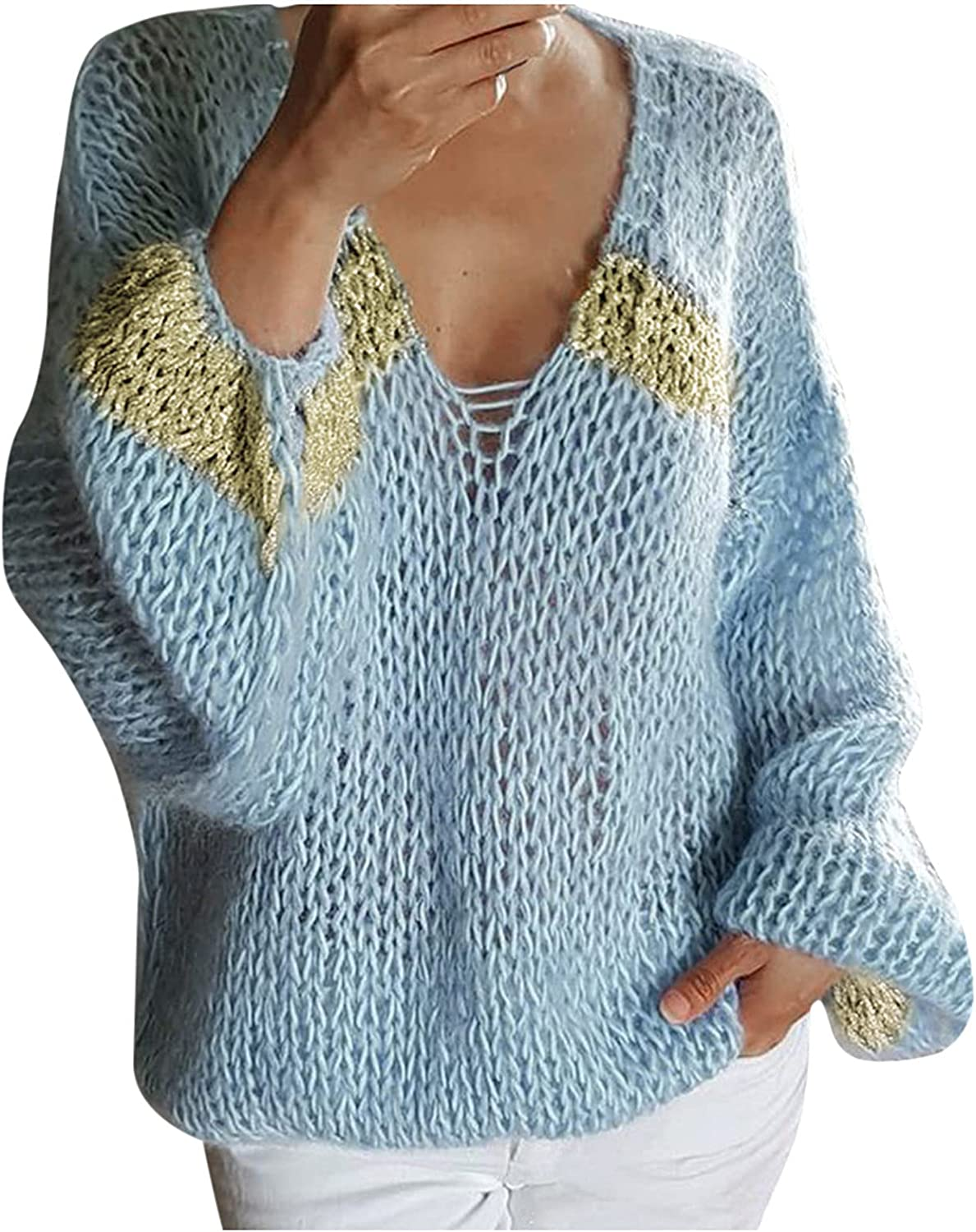 MAYW Women's Off Shoulder Long Sleeve V-Neck Ribbed Cable Pullover Sweaters Loose Fitting Jumper Tops