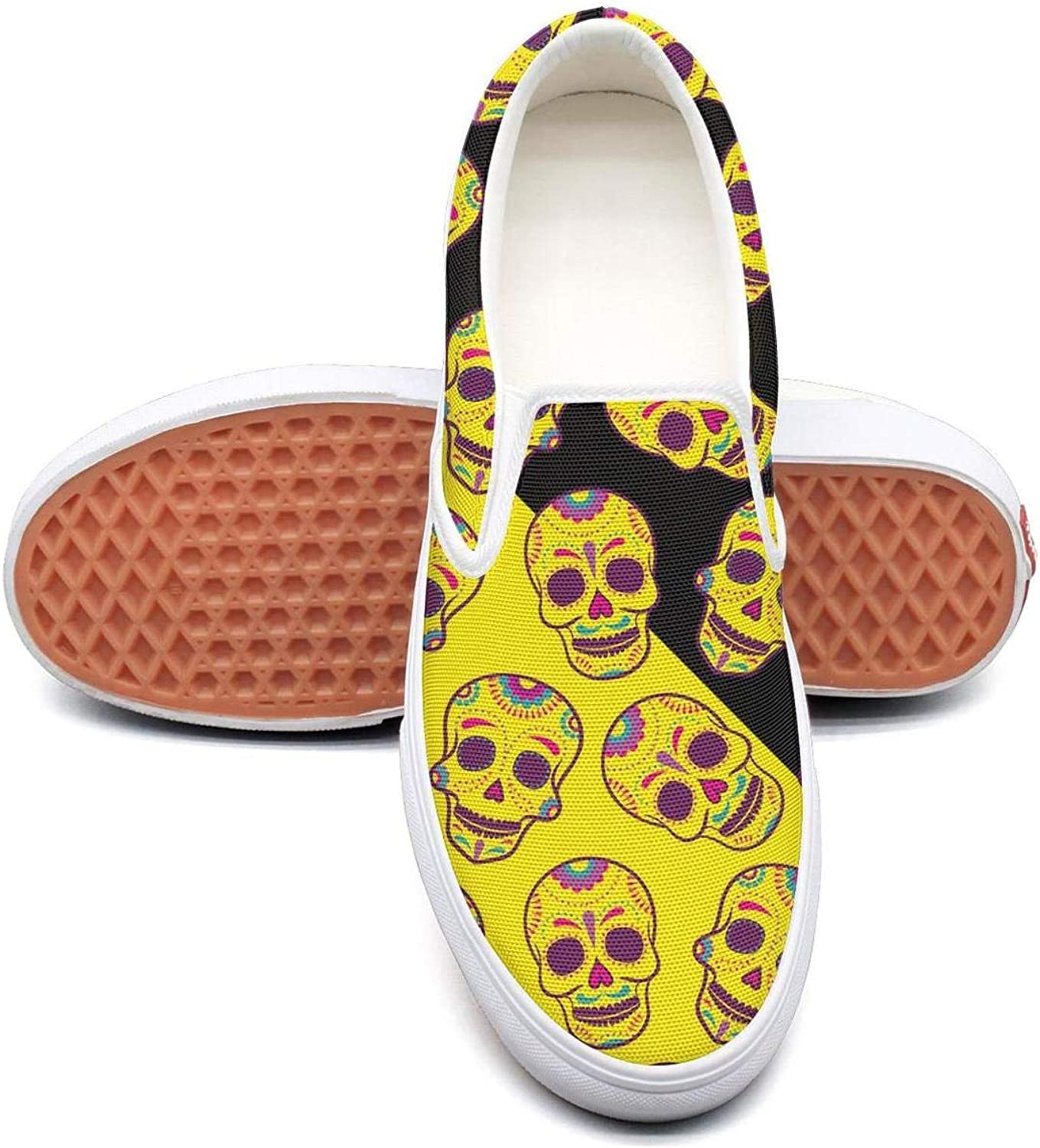 Back to School Dead Candy Skulls Slip On Superior Comfort Loafers Canvas shoes for Women Comfortable