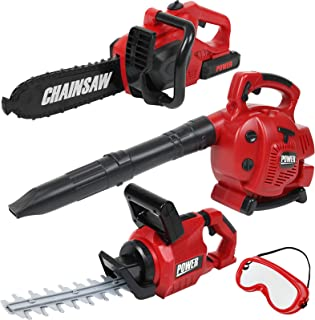 TeganPlay Power Garden Tools Set for Kids Battery Operated Toy Leaf Blower, Hedge Trimmer and Chainsaw Pretend Play for Boys Girls