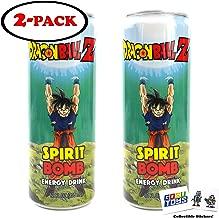 Dragon Ball Z Spirit Bomb Energy Drink 12 FL OZ (355mL) (2 Pack) DBZ Goku Can With 2 GosuToys Stickers