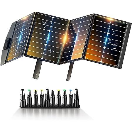 Techoss ソーラーパネル 80W ETFE ソーラーチャージャー折りたたみ式 DC出力 DCポータブル電源 USB出力 スマホやタブレット 充電可能 高変換効率 超薄型 軽量 コンパクト 防災 IP65防水 (80W 18V 5.55A) ポータブル