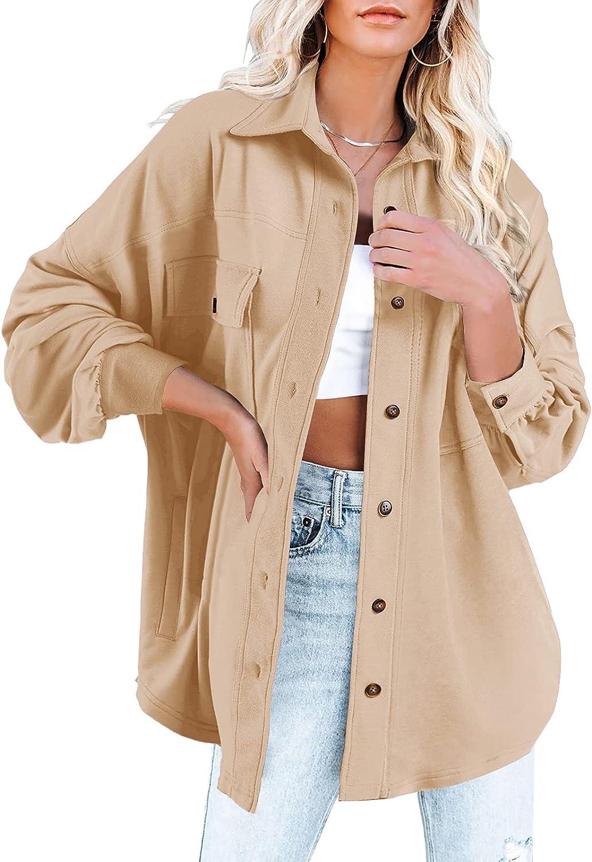 Mafulus Women's Button Down Jacket Shacket Lapel Collar Lantern Long Sleeve Loose Coat with Pockets