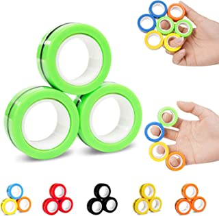 NSKER 3PCS Fidget Toy Fingers Magnetic Rings Ideal ADHD Fidget Toys Cool Office School Stress Toys Stress Relief Magnet To...