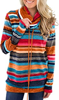 Womens Tops Long Sleeve Cowl Neck Striped Slim Tunic Tops with Pockets S-XXL