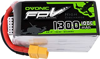 Ovonic 1300mAh 18.5V 5S 100C Lipo Battery Pack with XT60 Plug for Professional FPV Racing Competitions