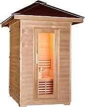 Symbolic Spas 2 Person Outdoor Steam Sauna - 4KW Wet Dry Heater 220V, 30 Amp 200 Plus Degrees - Canadian Hemlock Wood - Asphalt Roof - Rocks Bucket Ladle - 1 Year Parts Warranty