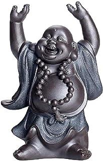 中国の風水ブラックゴールド砂笑う仏像ラッキー弥勒彫刻家の装飾アクセサリー置物