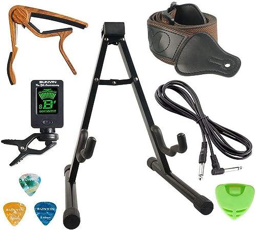 Kit d'accessoires de support de guitare SUNYIN, support de guitare, câble de guitare de 10 pieds, Capo, Starp, accord...