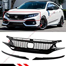 Fits for 2016-2019 Honda Civic CIVIC 10th Gen CTR Style Glossy Black Front Hood Mesh Grill Grille