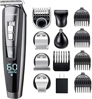 HATTEKER Beard Trimmer Kit For Men Cordless Mustache Trimmer Hair Trimmer Groomer Kit Precision Trimmer Nose Hair Trimmer Waterproof USB Rechargeable 5 In 1