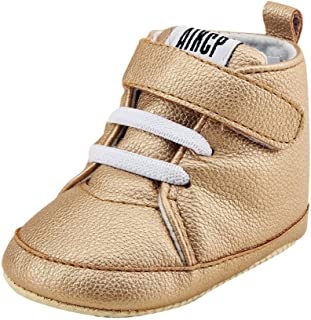 Amiley Autumn Winter Toddler Girls Boys Crib Shoes PU Leather Prewalker Soft Sole Sneakers