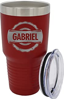 Custom Personalized Insulated Double-Wall Stainless Steel Travel To Go Tumbler Cups - Monogrammed and Engraved for Free (30 oz, Maroon)