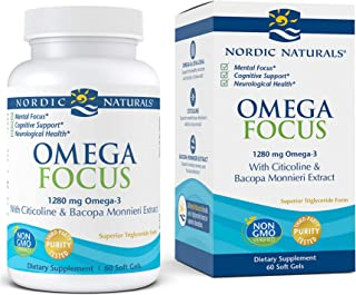 Nordic Naturals Omega Focus, Lemon - 60 Soft Gels - 1280 mg Omega-3 + Citicoline & Bacopa Monnieri Extract - Focus, Attent...