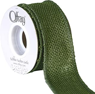 "Offray 1.5"" Wide Wired Edge Burlap Ribbon, 3 Yards, Moss Green"