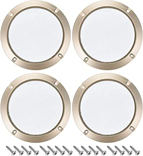 uxcell 4pcs 5 inches Speaker Grill Mesh Decorative Circle Woofer Guard Protector Cover Audio Accessories Golden