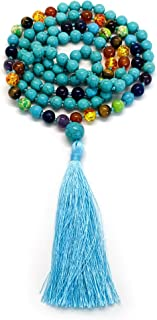 108 Bead Mala Necklace & Bracelet With Tassel By Aspen & Eve - 8mm Stone Beads - Strand 108 Beads Necklace For Mindfulness & Yoga