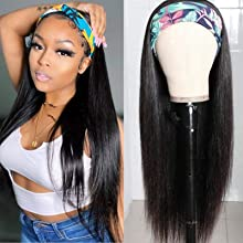 22 Inch 150% Density Human Hair Headband Wig with 5 Styles Headband Attached Glueless Silky Straight Machine Made Natural Black None Lace Wig for Black Women