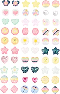 Claire's Club Springtime Stick on Earrings, Cute Jewelry for Girls, Assorted Styles, Rainbow, 30 Pack