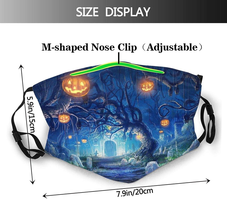 Dark Storm Rain Halloween Animals Wolf Face Mask with Filter Pocket Washable Reusable Face Bandanas Balaclava with 2 Pcs Filters Black