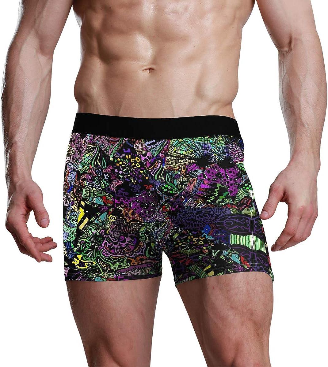 HangWang Mens Boxer Briefs Underwear Black Background Abstract Patterns Trunks Underwear Short Leg Boys