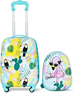 2PCS Kids Luggage Set Carry On with Spinner Wheels & Cute Flamingo Pattern, Adjustable Trolley Rod Height & Backpack Shoulder Strap, Kids Luggage Set Made of ABS, Polycarbonate & Nylon Material