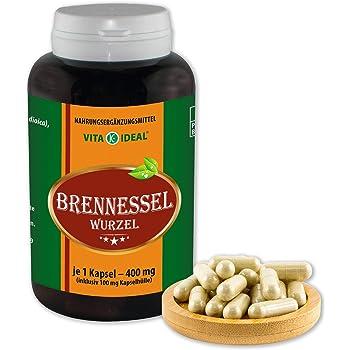 VITAIDEAL ® Brennessel-Wurzel (Urtica dioica) 180 Kapseln je 400mg, aus rein natürlichen Kräutern, ohne Zusatzstoffe von NEZ-Diskounter