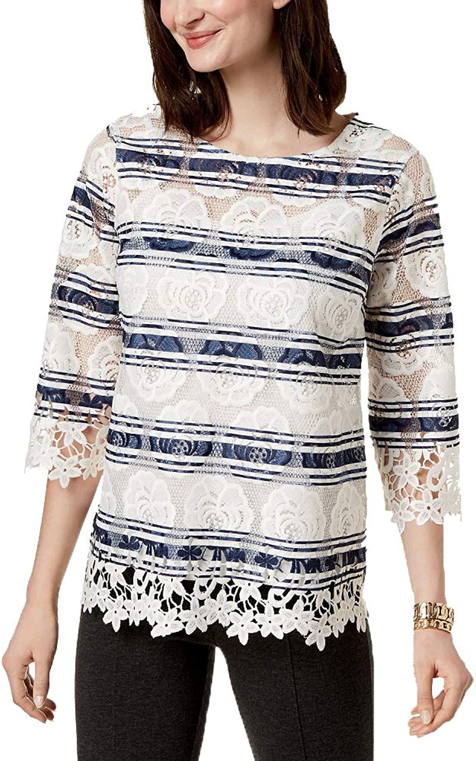 Charter Club Striped Lace Top