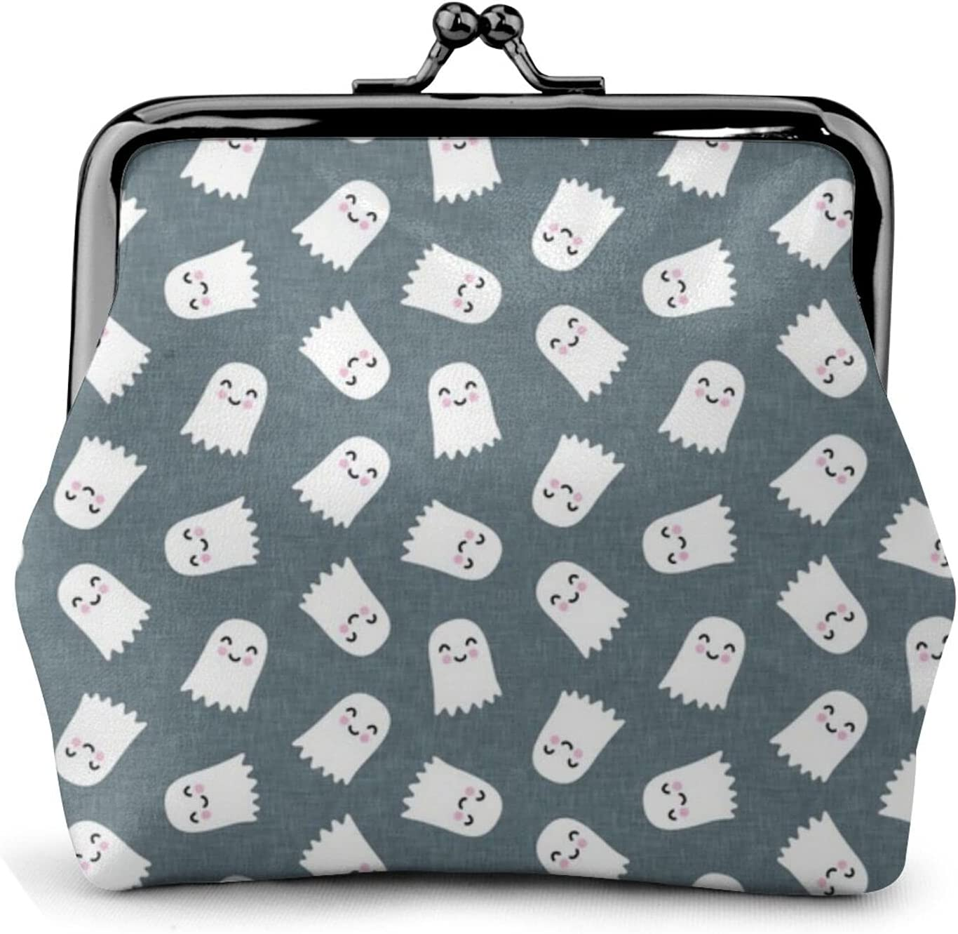 Cute Ghost Halloween 1865 Coin Purse Retro Money Pouch with Kiss-lock Buckle Small Wallet for Women and Girls