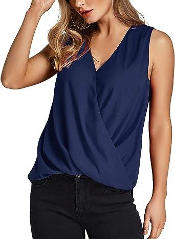 YOINS Camiseta Sin Mangas Mujer Camisola Gasa Camiseta con Cuello En V Camisa Trabajo Informal Playa Blusa Tops Verano