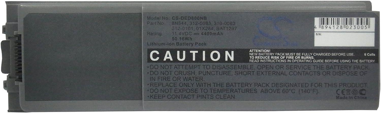 High 4400mAh Replacement Battery for Inspiron 8500, Inspiron 8500M, Inspiron 8600, Latitude D800, Precision M60, 01X284, 310-0083, 312-0083, 312-0101, 8N544, BAT1297