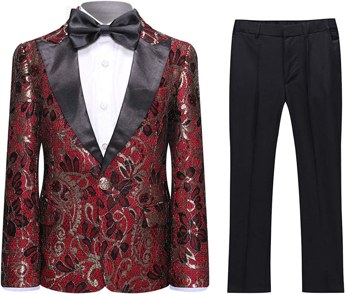 SWOTGdoby Boys Tuxedo Suit 2 Pieces Black Blue Red Blazer Trousers Slim Fit for Wedding Prom Party