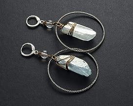Icy light blue angel aura quartz crystal point geometric bohemian earrings