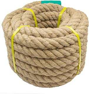 Aoneky Jute Rope - 1.18/1.5 Inch Twisted Hemp Rope for Crafts, Climbing, Anchor, Hammock, Nautical, Cat Scratching Post, Tug of War, Decorate (1 1/2 inch x 48 Feet)