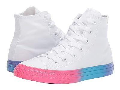 Converse Kids Chuck Taylor All Star Rainbow Ice Hi (Little Kid/Big Kid) (White/Racer Pink/Black) Girls Shoes