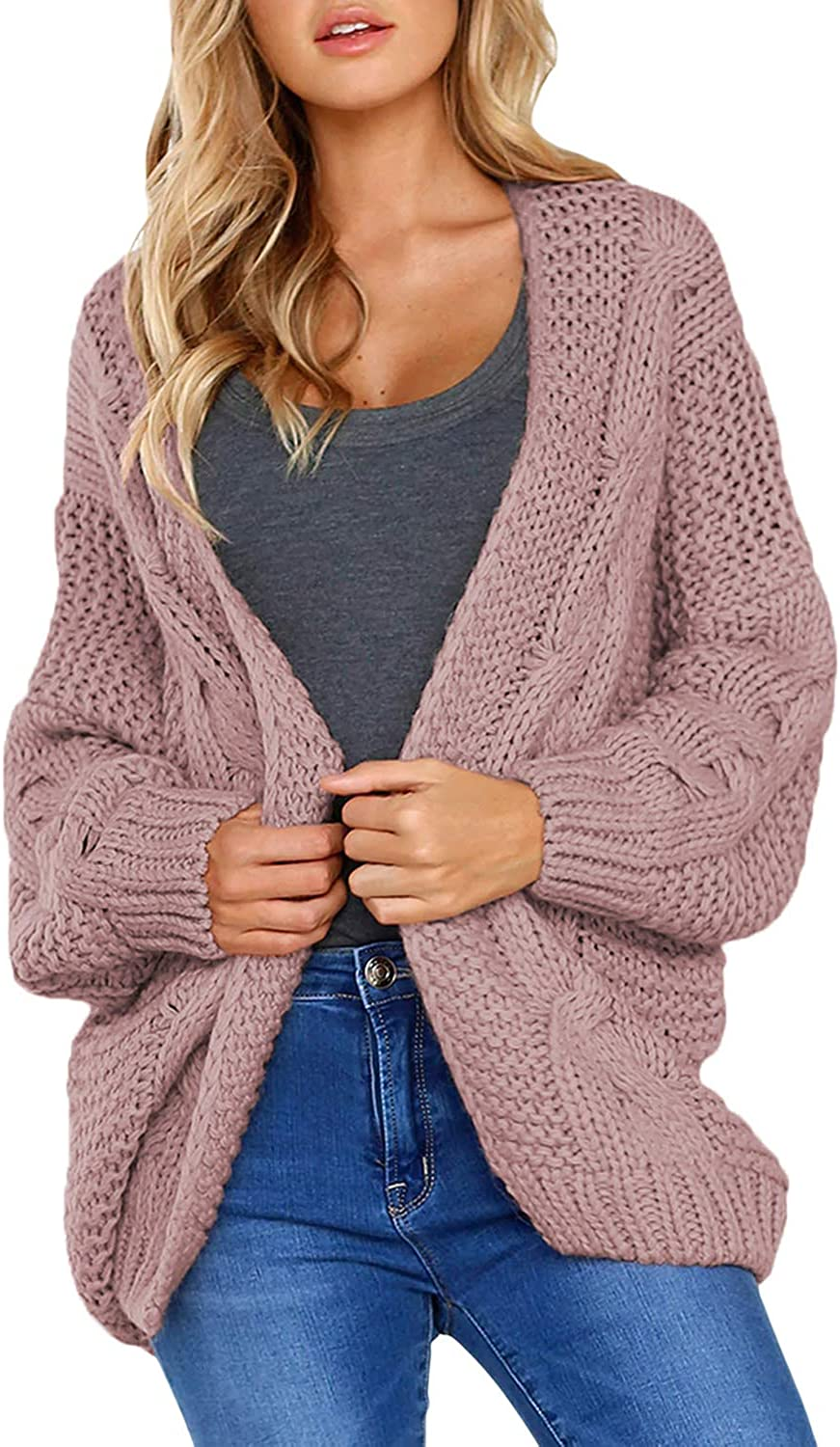 Dearlove Womens Long Sleeve Solid Color Chunky Knit Cardigans Sweater