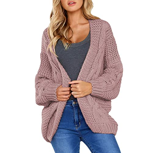 5da5d4e2e9 Astylish Women Open Front Long Sleeve Chunky Knit Cardigan Sweaters Loose  Outwear Coat S-XXL