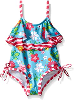 Pink Platinum Baby Girls' Colorful Flowers and Wave Swimsuit