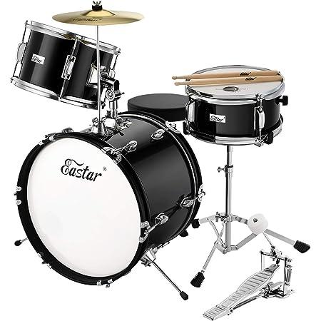 Eastar Kids Drum Set 16 inch 3 Piece Kids Drum Set Kit with Throne, Cymbal, Pedal & Drumsticks,Age 5-12, Mirror Black (EDS-285B)