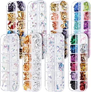 Teenitor Nail Art Decorations kit with 2 Boxes Butterfly Nail Glitter 3 Boxes Holographic Nail Sequins Flake Iridescent an...