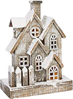 One Holiday Way 13-Inch Rustic Snowy Light Up Wood House – Tabletop Christmas Decoration